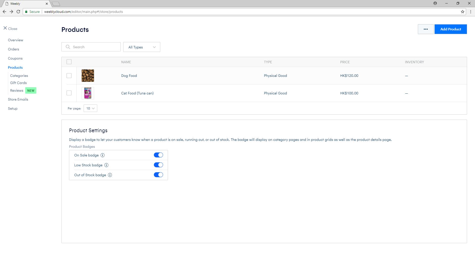 eShop Product List